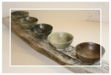 bowls on driftwood